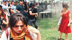 …The police decided to use pepper spray right onto people's faces.   Community Post: Photos From Istanbul's Uprising (And Also Twitter's Trending Topic #direngeziparkı)