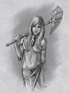 Fantasy Drawings by Loris Stavrinides, via Behance warrior lady woman melee weapon Tattoo Flash Art ~A.R.