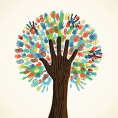 Illustration of Isolated diversity tree hands illustration. Vector file layered for easy manipulation and custom coloring. vector art, clipart and stock vectors. Hand Illustration, Vector File, Vector Art, Eps Vector, Manipulation, Clip Art, Cultural Diversity, We Are The World, Art Plastique