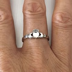 Sterling Silver Claddagh Heart Ring, Loyalty Ring