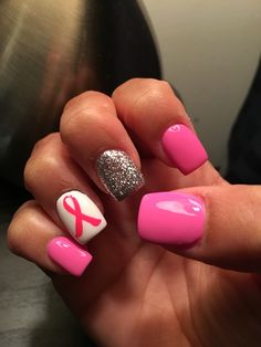 Loving my nails !! Breast Cancer Awareness