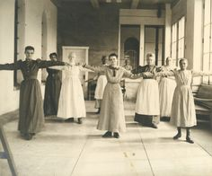 Physical culture exercises in the violent ward, Columbus State Hospital, ca. 1911-1915. (Notice that the women are wearing ordinary clothes, not hospital gowns