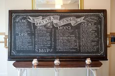 chalkboard seating chart | Alyse French