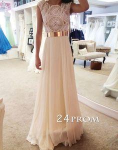 White A-line Neck Chiffon Long Prom Dresses, Evening Dresses – 24prom #prom #promdress #promdresses