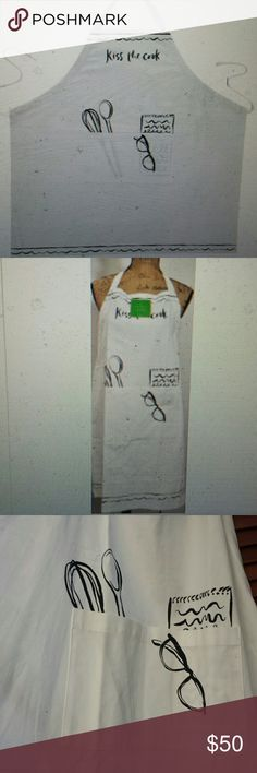Kate Spade NWT White, 'kiss the cook' Apron Kate Spade NWT White Cotton 'Kiss the Cook' Kitchen Apron, 2 Front Pockets, measurements listed on the inside see pics, loops over head Kate Spade Other