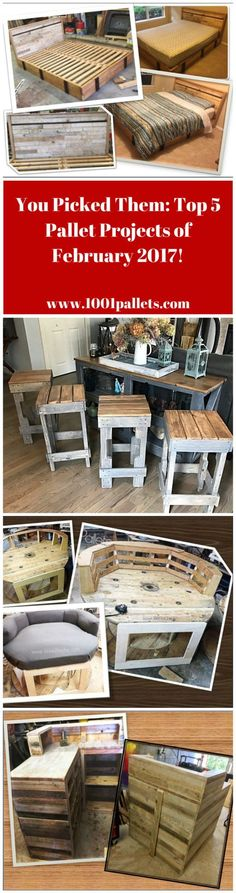 #Best-Of, #DiyPalletProjects, #HomeDécor, #PalletBar, #PalletBed, #PalletCounters, #PalletHeadboard, #PartyDecor, #RecyclingWoodPallets Check out the Top 5 Pallet Projects of February 2017, as chosen by YOU! Thank you to our ingenious, creative Crafting community for making this possible! #1: Your favorite of our Top 5 Pallet Projects - Pallet Bar Stools Look Pretty Cool! Party