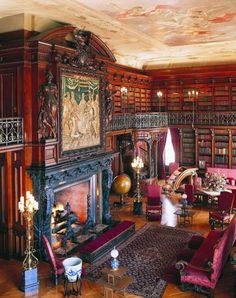 giant fireplace library- maybe insert giant fur rug?