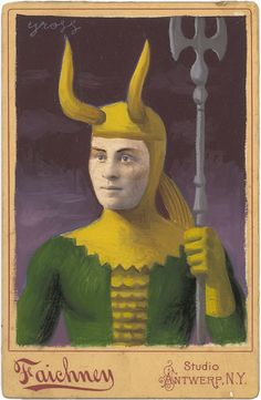 """Loki"" (Mixed Media on Antique Photograph, 7 x 5 Inches)"