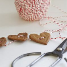 Christmas - What a wonderful idea for pepparkakor (gingerbread). The string is red and white bakers twine. Noel Christmas, Little Christmas, Christmas Projects, All Things Christmas, Winter Christmas, Holiday Crafts, Holiday Fun, Xmas, Christmas Ideas