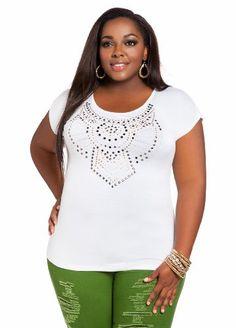Ashley Stewart Women's Plus Size Short-Sleeve Embellished Tee [List Price: $24.50 - Buy New: $18.99 ] [Ashley Stewart is the premier fashion retailer for the plus-size urban woman plus-sizes 12-26]
