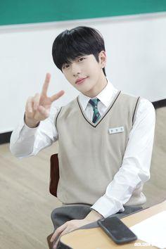 School Boy, School Uniform, Woollim Entertainment, Golden Child, Preschool Worksheets, High School Classes, Asian Boys, Kpop Boy, Scene Photo