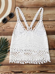 Crochet Crop Cover Up Top - WHITE ONE SIZE