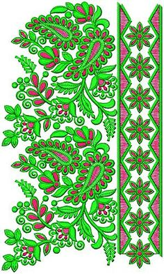 Saree Embroidery Design, Border Embroidery Designs, Embroidery Transfers, Lace Embroidery, Vintage Embroidery, Border Design, Lace Design, Geometric Painting, Hens And Chicks