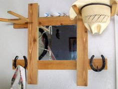 Cowboy Hat Rack With Mirror And Hooks Wall Mount Hall Tree Great For Office