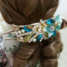 NWOT Hair Fashion Accessories Clip Fancy Flower Details Ladies Hair Clip in Sky Blue Shade Accessories Hair Accessories