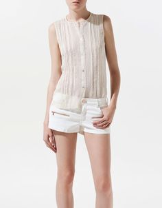 BLOUSE WITH LACE AND THREADED RIBBON - ZARA United States