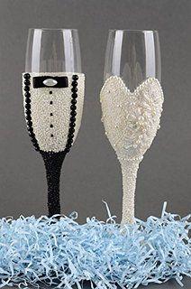 Copas de boda para novios artesanales de cristal con encaje ...