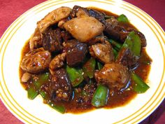 Black Bean Chili Sauce Snow Pea Chicken (黑豆辣椒荷蘭豆鷄, Hak1 Dau6 Laat6 Ziu1 Ho4 Laan4 Dau6 Gai1)