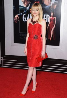 How to wear red from head-to-toe, as seen on Emma Stone in Lanvin