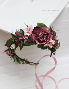 Blush pink purple flower crown Boho floral headband by ByKochetova #weddingcrowns