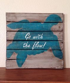 Distressed Turquoise Sea Turtle on Reclaimed Wood, pallet style turtle sign by NCSustainableStyle on Etsy