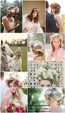 i like these ideas. keep it in pale color range though Flower Crown Wedding, Flower Crowns, Hair Inspiration, Wedding Inspiration, Inspiration Boards, Wedding Engagement, Wedding Day, Wedding Headdress, Boho Bride