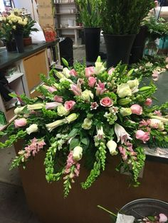 Pink and white Casket arrangement by Vicky Pink and white Casket arrangement by Vicky Casket Flowers, Grave Flowers, Cemetery Flowers, Church Flowers, Funeral Floral Arrangements, Church Flower Arrangements, Funeral Bouquet, Funeral Flowers, Funeral Caskets