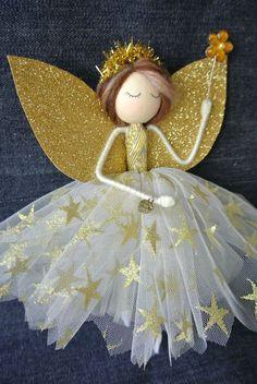 Tree topper fairy - Catelyn the Fairy tree topper - Christmas Fairy - Fairy decoration Christmas Fairy, Christmas Tree Toppers, Christmas Angels, Christmas Crafts, Christmas Ornaments, Fairy Tree, Angel Crafts, Clothespin Dolls, Silk Flower Arrangements