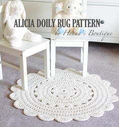 "Craftsy crochet circular rug pattern - looks like a large, thick doily.  Made with all cotton so it's soft and sturdy.  Really cute paired with small chairs in a child's playroom.  Works up to 28"" in diameter. #crochet #pattern #rug"