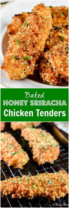 Baked Chicken Tenders with Honey Sriracha are covered in a Honey Sriracha Sauce and a crispy panko breadcrumb coating resulting in sweet and spicy crunchy oven-fried chicken that uses only 5 ingredients and is on the dinner table in 30 minutes Baked Chicken Tenders, Oven Fried Chicken, Chicken Panko, Chicken Bites, Crispy Chicken, Honey Sriracha Chicken, Sriracha Sauce, Chicken Tender Recipes, Fried Chicken Recipes