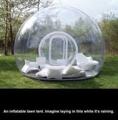 Clear plastic dome for the garden. Perfect outdoor seating in the rain. Maybe too hot in summer.