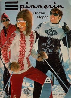 "SPINNERIN ON THE SLOPES, Volume 196, published in 1969 by the Spinnerin Yarn Co. Includes patterns for 37 men's and women's ski sweaters and hats. Hats are adapted from one basic ski hat pattern. Women's sizes are written for S-M-L (finished bust measurement 36-40-44""); men's sizes are written for S-M-L-XL (finished chest measurement 38-42-46-50"") or other sizes in the same approximate range. #Spinnerin #VintagePatternBook"