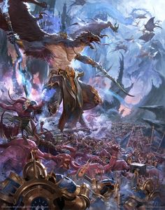 Warhammer age of sigmar artwork ilustration from battletome disciples of tzeentch cover art Fantasy Battle, High Fantasy, Sci Fi Fantasy, Fantasy World, Warhammer Age Of Sigmar, Warhammer 40k Art, Warhammer Fantasy, Chaos Warhammer, Chaos Daemons