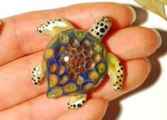 Exotic Honeycomb Turtle - Turtle Necklace - Handmade - Blown Glass - One of a kind jewelry made with 24k gold