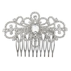 Lux Accessories Silvertone Baroque Bridal Rhinestone Gem Hair comb crystal pin >>> You can get additional details at the image link.(This is an Amazon affiliate link and I receive a commission for the sales)