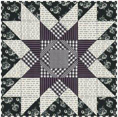 Farmhouse Star Quilt - Free Pattern - Nana's Favorites Created in black and white fabric this Farmhouse Star quilt featuring an oversized star is classic and modern with a touch of retro feel. Star Quilt Blocks, Star Quilt Patterns, Star Quilts, Mini Quilts, Pattern Blocks, Baby Quilts, Block Quilt, Scrappy Quilts, Quilting Projects