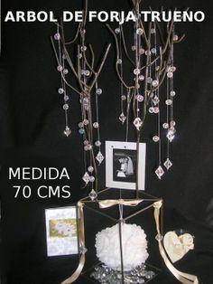 Arbol Trueno c/piedras acrilicas, marquito y bomboneta