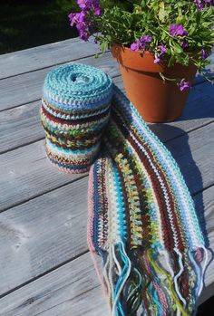 Sunset Beach Crocheted Scarf by PuddleDuckCottage on Etsy, $28.00