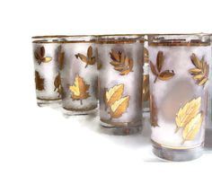 Mid Century Libbey Glasses Gold Leaf by MerrilyVerilyVintage, $35.00