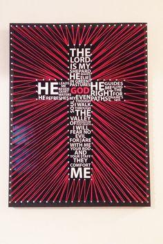 Psalm 23 cross string art Bible verse gift God Jesus