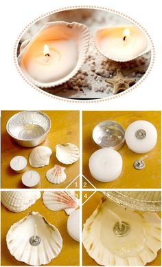DIY shell candles. This would be great for a beach party!