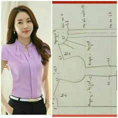 Resultado de imagen para sewing tutorials for ladies blouse Dress Sewing Patterns, Blouse Patterns, Clothing Patterns, Blouse Designs, Sewing Blouses, Sewing Shirts, Make Your Own Clothes, Diy Clothes, Fashion Sewing