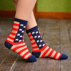 """- Details - Sizing - Shipping A pair of American flag print sheer socks! Express your """"sheer"""" patriotism with these super cool socks! Store FAQ 