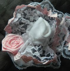 Girl/ Baby white ruffled lace socks with  pink by DollsnBaby, £2.75