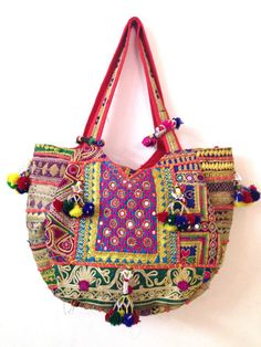 Vintage banjara bag boho gypsy tribal ethnic tote shoppers extra large size zari embroidery Handmade cotton large bag