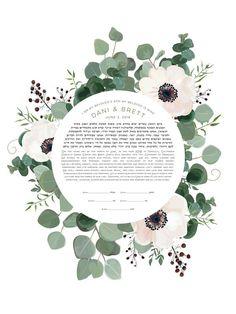 Wild-Anemone Ketubah Fine Art Print for interfaith, reform and orthodox weddings Our Wedding, Dream Wedding, Wedding Ideas, Wedding Stuff, Wedding Bells, Wedding Favors, Wedding Decor, Arte Judaica, Orthodox Wedding