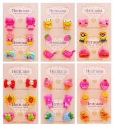 Cute 18 Pairs Lot of Plastic Soft Post Cartoon Stud Earrings Girls Kids Children #Stud