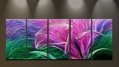 Metal Wall Art Abstract Modern Flowers Sculpture Handmade Wall Decor Purple Glamour