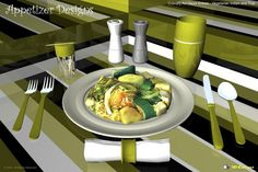 """One in a collection of culinary art decor entrée designs based on a concept of combining culinary art with abstract design featuring """"Vegetarian Indian and Thai"""", 3D-Cuisines food model."""