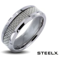 0751e5a1c8 $14.99 - Steelx Stainless Steel White Carbon Fiber Polished Finish Men's  Ring Cheap Wedding Rings,